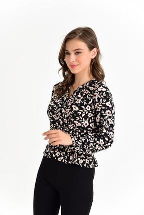 Tena Moda Kadın Siyah-bej Örme Crep Gipeli Bluz 4