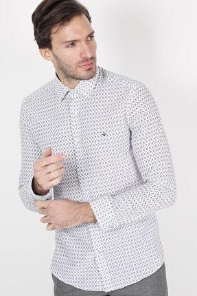 Jakamen Beyaz Slim Fit Cepsiz Desenli Gömlek 1