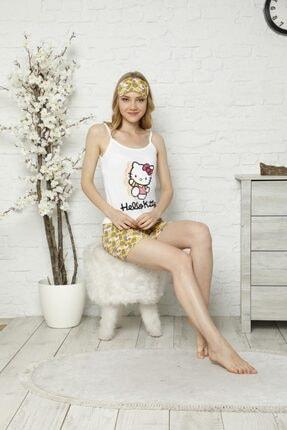 Tena Moda Kadın Ekru Ip Askılı Atletli Şortlu Hello Kitty Baskılı Pijama Takımı 1