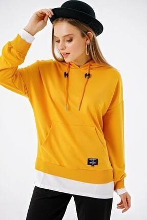 ŞİMAL Kadın Çift Görünümlü Cepli Kapüşonlu Sweatshirt 1