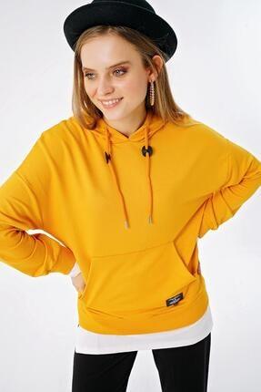 ŞİMAL Kadın Çift Görünümlü Cepli Kapüşonlu Sweatshirt 2