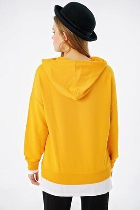 ŞİMAL Kadın Çift Görünümlü Cepli Kapüşonlu Sweatshirt 4