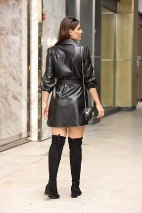 Estelle Giyim Kadın Deri Düğmeli Kemerli Bayan Elbise Estll0694 1