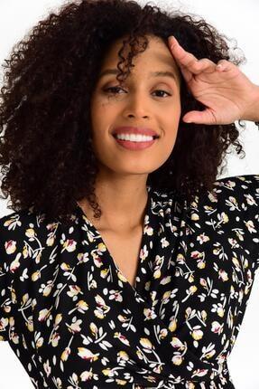 Tena Moda Kadın Sarı Çiçekli Örme Crep Gipeli Bluz 3
