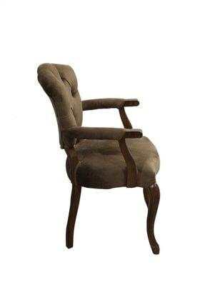 BENGİ TİCARET Bengi Lüx Kolçaklı Ahşap Berjer Sandalye Kahve 4