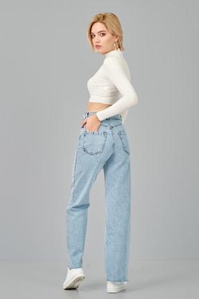 ladyzey Kadın Bol Paça Denim Pantolon 4