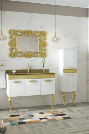 Housepack Gold Beyaz 135 Cm Boy Dolaplı Cam Lavabolu Lüx Banyo Takımı 0