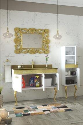 Housepack Gold Beyaz 135 Cm Boy Dolaplı Cam Lavabolu Lüx Banyo Takımı 2