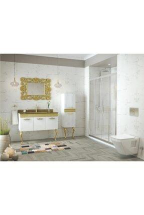 Housepack Gold Beyaz 135 Cm Boy Dolaplı Cam Lavabolu Lüx Banyo Takımı 3