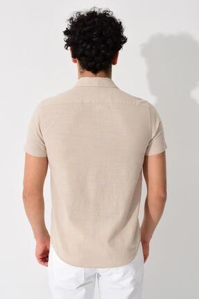 Tena Moda Erkek Taş Kısa Kollu Apaş Yaka Regular Keten Gömlek 4