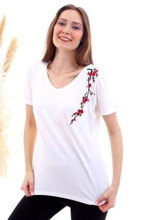 Cotton Mood 20050526 Süprem Omuzu Çiçek Nakışlı Kısa Kol Bluz Ekru 1