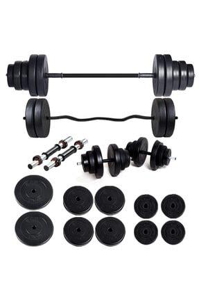 ECG Spor 58 Kg Z Bar Halter Seti Ve Dambıl Seti Ağırlık Fitness Seti 0