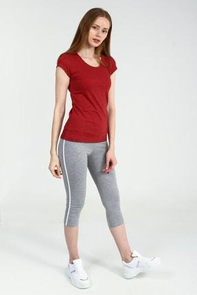 Collezione Kırmızı Yuvarlak Kesim Kısa Kollu Basic Kadın Tshirt 1