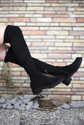 Riccon Süet Siyah Kadın Uzun Çizme 0012300 1