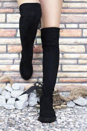 Riccon Süet Siyah Kadın Uzun Çizme 0012300 3
