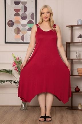 1fazlası Kadın Büyükbeden Genis Askılı Omzu Halka Detaylı Elbise 1