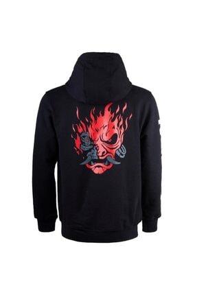Bant Giyim - Cyberpunk 2077 Samurai Siyah Kapşonlu Sweatshirt 2