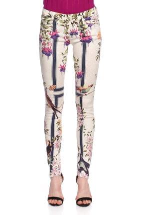 Mother Çiçek Desenli Skinny Beyaz Jean Pantolon 2