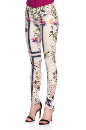 Mother Çiçek Desenli Skinny Beyaz Jean Pantolon 3