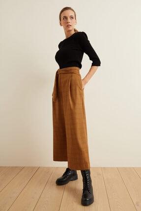 adL Kadın Tarçın Beli Kuşaklı Bol Ekose Pantolon 1