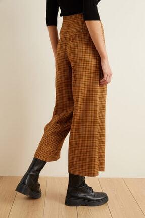 adL Kadın Tarçın Beli Kuşaklı Bol Ekose Pantolon 4