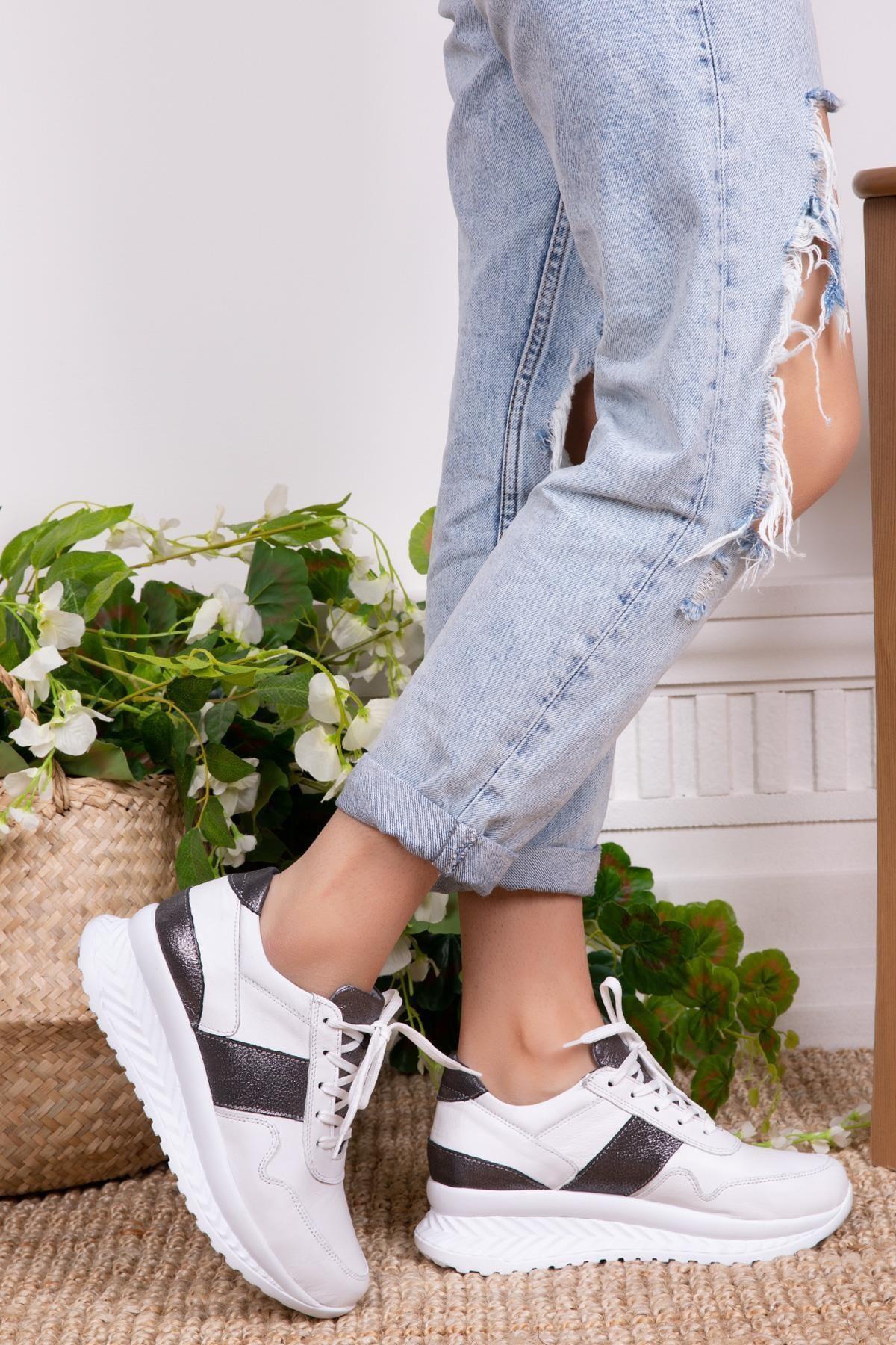 Hakiki Deri Beyaz Kadın Deri Sneaker Dp15-26163