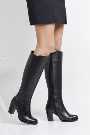 Deripabuc Hakiki Deri Siyah Kadın Deri Çizme Dp02-3086 0
