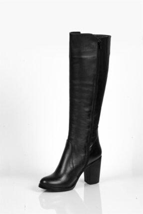 Deripabuc Hakiki Deri Siyah Kadın Deri Çizme Dp02-3086 3