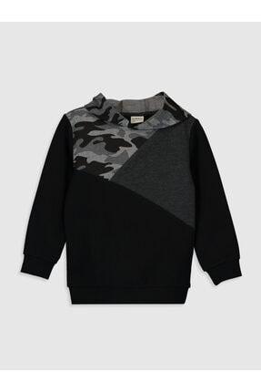 LC Waikiki Erkek Siyah Kamuflajlı Çocuk Sweatshirt 0