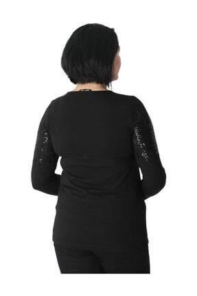 Günay Kadın Bluz Nly1008 Sonbahar Kış O Yaka Pul Detay-sıyah 3
