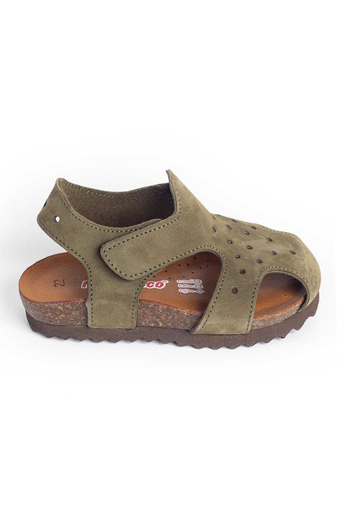 Unisex Çocuk Haki Deri Ortopedik Sandalet
