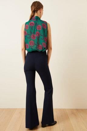 adL Kadın Lacivert Yandan Fermuarlı İspanyol Paça Pantolon 4