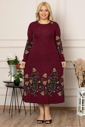 1fazlası Kadın Siyah Çiçek Desen Uzun Esnek Krep Elbise 2
