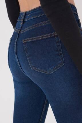 Addax Kadın Koyu Kot Rengi Cep Detaylı Jean Pantolon Pn12181 - Pnj ADX-0000023379 2