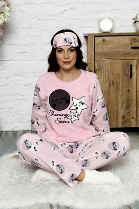 Manolya Kışlık Uzunkollu Desenli Polar Peluş Bayan Pijama Takımı 1