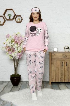 Manolya Kışlık Uzunkollu Desenli Polar Peluş Bayan Pijama Takımı 2