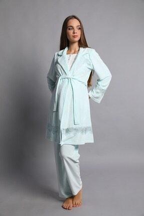 Lohusa Sepeti Sarah Sabahlıklı Lohusa Pijama Takımı Mint Yeşili 4