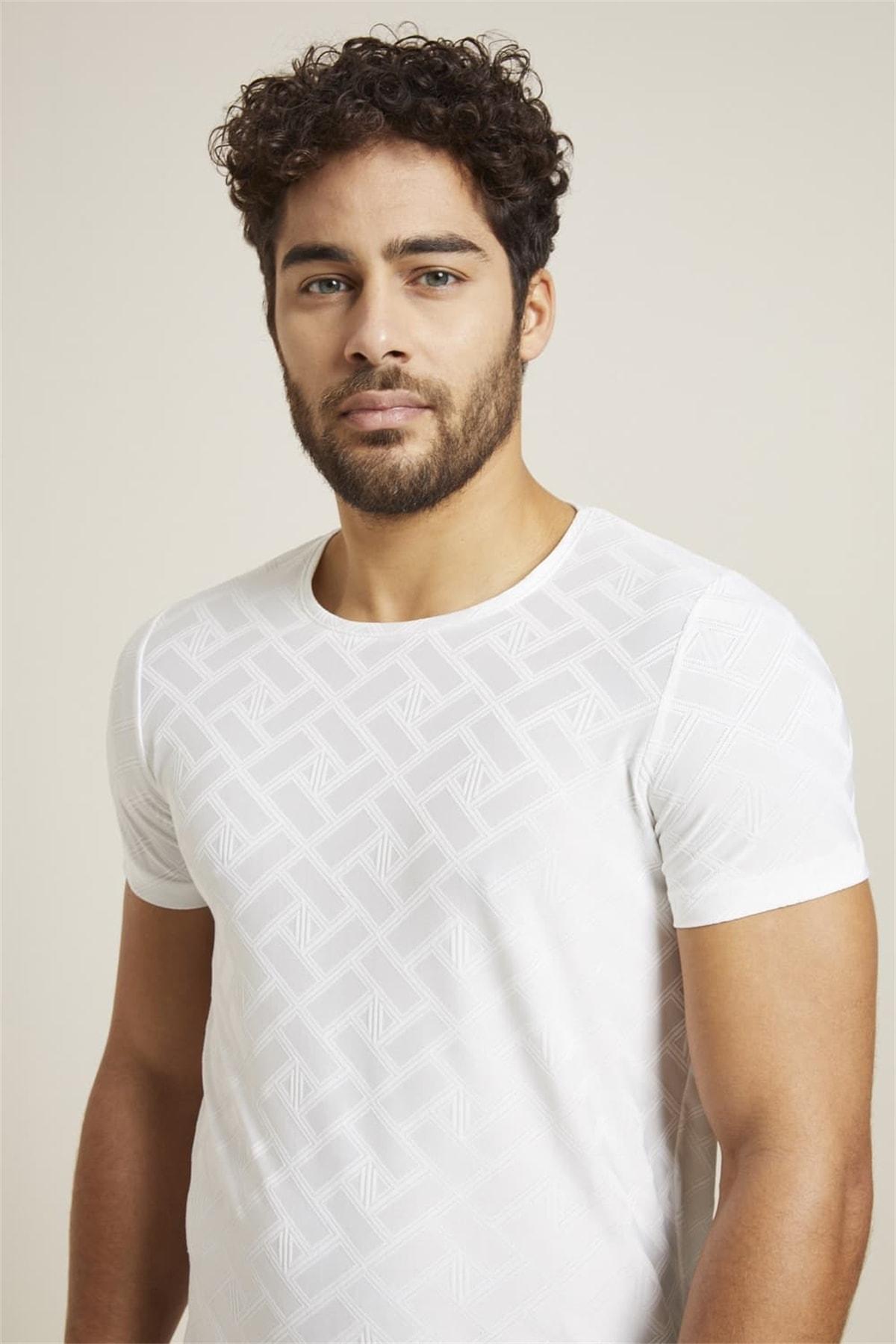 Ts 769 Slim Fit Beyaz Spor T-shirt