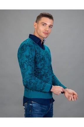 Tudors V Yaka Desenli Mavi Yün Erkek Kazak 1