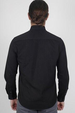Jakamen Siyah Slim Fit Tek Cepli Desenli Gömlek 3