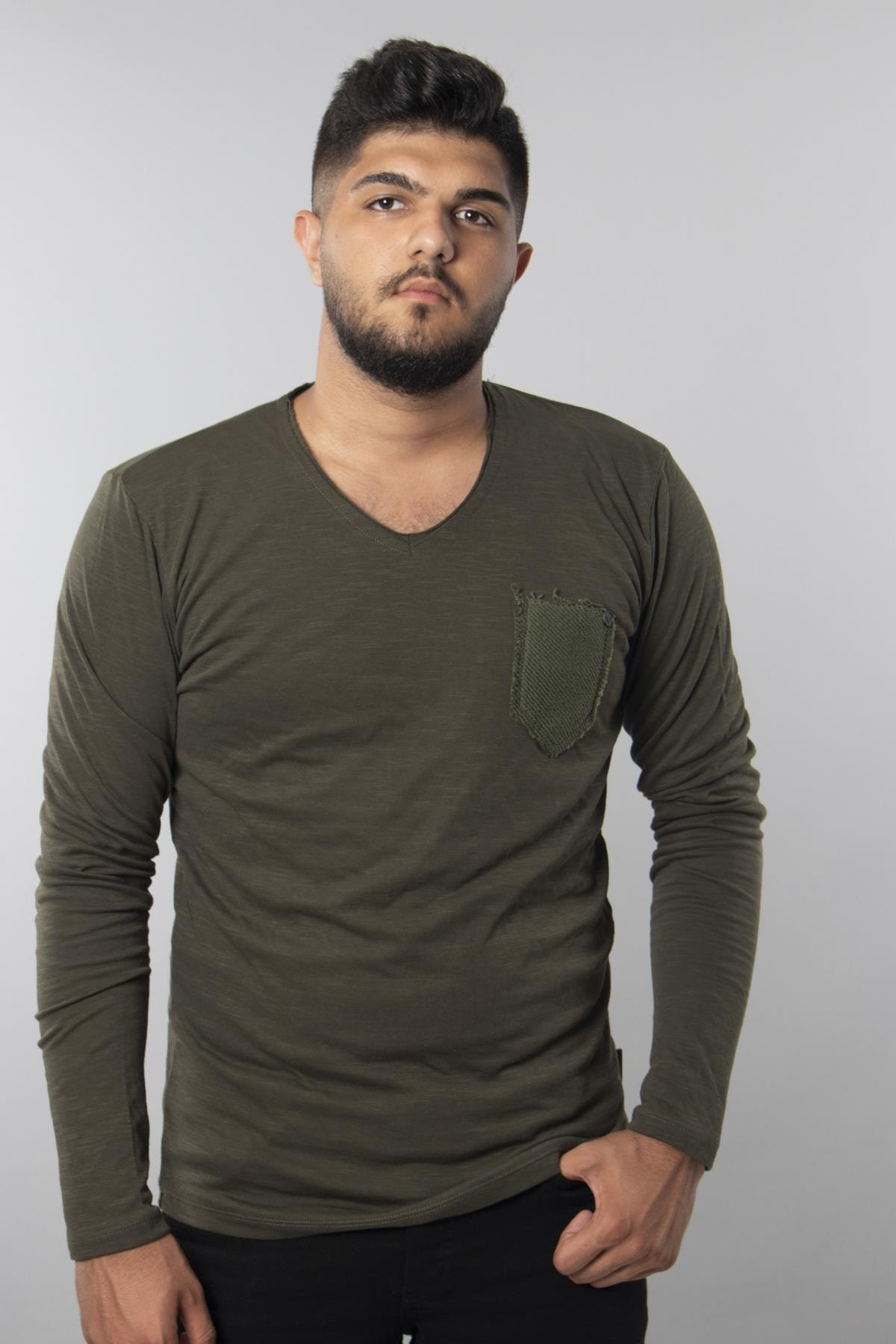 Haki - Flamlı Hasır Cepli T-shirt