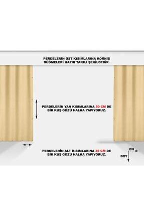 ALTINPAMUK 500x200 Balkon Perdesi Balkon Brandası Sarı Beyaz Kuşgözlü 2