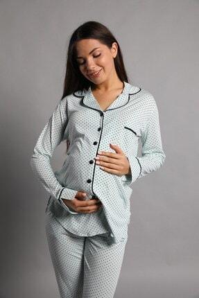 Lohusa Sepeti Justine Önden Düğmeli Pijama Takımı Mint Yeşili 0