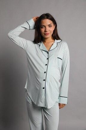 Lohusa Sepeti Justine Önden Düğmeli Pijama Takımı Mint Yeşili 4