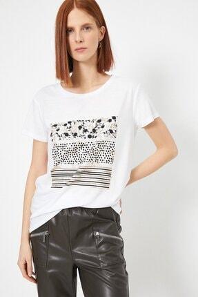 Koton Kadın Ekru Baskili T-shirt 0yak13740ek 1