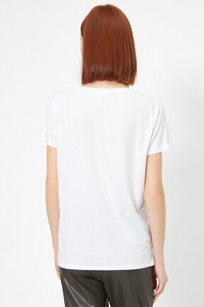 Koton Kadın Ekru Baskili T-shirt 0yak13740ek 3