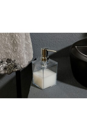 English Home Adela Akrilik Banyo Sıvı Sabunluk 7,5x7,5x11 Şeffaf 1