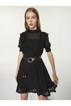 Twist Puantiye Jakarlı Tül Elbise 0