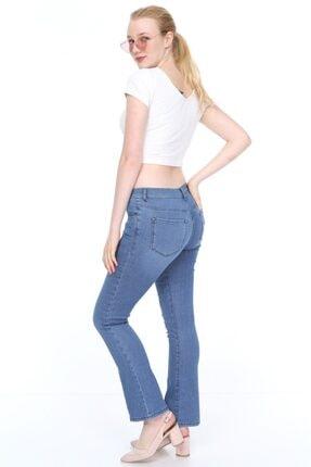 Alleben Bayan Normal Bel Yarım Ispanyol Paça Kot Pantolon 3