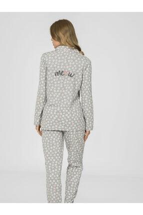 Nbb Önden Düğmeli Patili Kadın Pijama Takımı 67088 2
